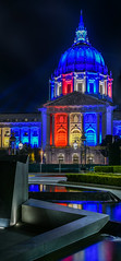 after the ellen degeneres show at davies symphony hall (pbo31) Tags: bayarea california nikon d810 color august summer 2018 boury pbo31 panoramic large stitched panorama sanfrancisco city urban night black dark red white blue america cityhall civiccenter vannessavenue fountain plaza