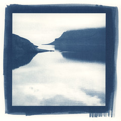 two points (lawatt) Tags: naustvik reflection landscape fjord water árneshreppur westfjords iceland altprocess cyanotype traditional hahnemuhleplatinumrag