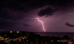 Night Storm in Attica (HarrisGkioulistanis) Tags: storm rain lightning tropical climate sky clouds voltage high sea hill lights summer