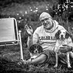 Care to join us? (Missy Jussy) Tags: rupert rupertbear razz razzle razzledazzle trevorkerr people pets dog portrait myboys chair camping campingtrip bokeh mono monochrome blackwhite bw grass outdoor outside 70200mm ef70200mmf4lusm ef70200mm canon70200mm 5d canon5dmarkll canon5d canon