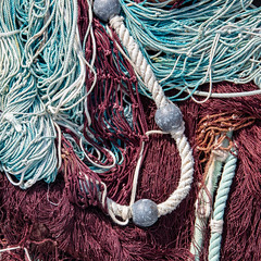 Learn the ropes (Erik Schepers) Tags: sea greece minimal minimalist travel halkidiki skioni fishing harbour colour blue chalkidiki net ropes cord gear texture