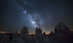 Protrusions (Night Scapes) Tags: steverengers milkyway tronapinnacles pinnacles trona nightsky nightscape californiadesert