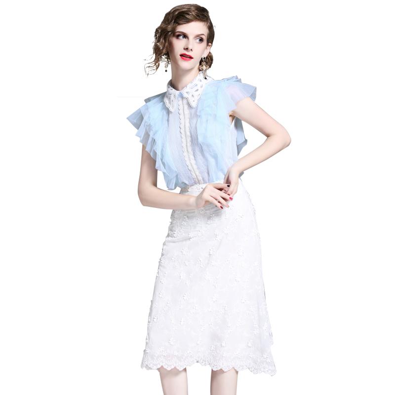 Fu Ni Ni Yuan Yuan stripe chiffon dress 2018, summer, European and American temperament lace two pieces of dress.