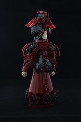 Lady in dark red dress. (rodiola2011) Tags: lego figure dark red woman dress