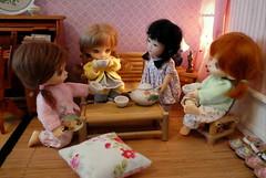 Tea Time (TutuBella) Tags: pukifee fairyland dolls rubyredgalleria yuping knittedcardigans by~ madebybarbara barbaragehring krataicraft tinybjd happyweekendflickrfriends