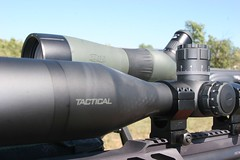 Front, long range rifle scope, and backup spotting scope. (huntingmark) Tags: guntest gun rimfire optics testing shooting field range warmup target longrange 308win wildcat hunter expert scope sniper itacha nightforce 65creedmoor creedmoor ruger chassis rifle hunting 300win blackout hornady