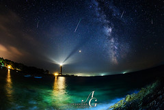 Celestial Spectacle (TranceVelebit) Tags: hrvatska croatia dalmatia dalmacija dugiotok long island velirat adriatic adriaticsea jadran jadransko more mediterranean sea shore coast night nightscape light lights lighthouse beams beach summer seascape landscape scenic scenery celestial star stars milky way galaxy meteor meteors shower perseid perseids rays astro astrography starscape