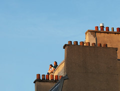 Young couple taking in the Paris sunset from high on a rooftop (Monceau) Tags: rooftop paris young couple sunset evening summer youth light letyourlightshinethrough atsh june 2018 175368 365picturesin2018 365the2018edition 3652018 day175365 24jun18