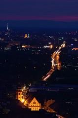 Karlsruhe-Durlach (bryanlotz) Tags: night cityscape famousplace architecture dusk city sunset urbanskyline urbanscene europe illuminated builtstructure tower town history buildingexterior capitalcities sky outdoors blaue stunde karlsruhe durlach turmberg badenwuerttemberg deutschland germany blue hour