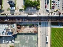 A Brown Line train fills the whole frame (Steven Vance) Tags: djimavicpro chicago cabrinigreen cta brownline train aerial l metro subway transit oldtown nearnorth