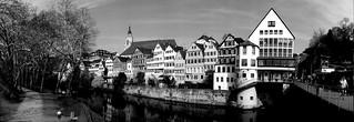 Panoramablick:  - Platanenallee mit Neckarinsel und die beliebte Tübinger Neckarfront -