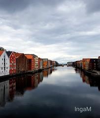 Trondheim (ingeborgmodalen) Tags: trondheim nidelva river norway wharves landmark bakklandet gamlebybro speiling blikkstille sommer idyll