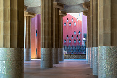 Room of Columns ll (fate atc) Tags: 100columns antonigaudi barcelona carmelhill catalonia euselaguell parcguell parkguell roomhypostyle spain architecture building ceramics design entrance modernist moldings mosaic