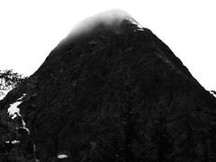 Pyramid Peak (Dendroica cerulea) Tags: mountain mountains clouds blackandwhite bw monochrome landscape nationalpark summer pyramidlake pyramidlaketrail northcascadesnationalpark northcascades cascades whatcomcounty wa washington