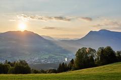Sonnenaufgang - blick von Hochmuth. (Dmitry_Pi) Tags: goisern austria österreich sky mountains grass mountain field tree forest animal traun fluss nature water river road