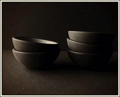 Finger bowls still life (Bob R.L. Evans) Tags: bowls sepiatone lightandshadow composition lowkey curves food soup stilllifebowls texture simple