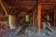 Mystery Barn Interior (KPortin) Tags: abandonedbuilding interior deteriorated decaying windows door machinery