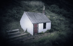 Wee House (ShinyPhotoScotland) Tags: cottage house building ruin drone djiphantom4advanced manipulated painteffects serifaffinityphoto hdr colour moody gloomy smoke chimney catterline scotland