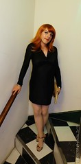 Night out Dublin 3 (eileen_cd) Tags: blackdress goldclutch highheels sandals redhead stairs crossdresser transvestite cd tv th