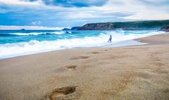 Footprints (dkphotographs) Tags: cornwall beach coast surfer waves sennencove sea water longexposure ocean sand footsteps footprints sonyalpha7 landscape england englandcoast seascape