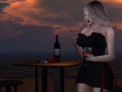 #374 - Waiting (Violet Batriani   Blogger   Model) Tags: secondlife fashion blog bento catya maitreya date sexy blonde cigarette wine summer beach ocean oceanview water sensual