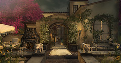 Mi Casa es Su Casa... (kellytopaz) Tags: second life virtual reality casa home tree gate family nature courtyard fireplace