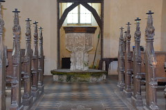 font, bench ends, candle pricks (Simon_K) Tags: shimpling norfolk eastanglia churches church