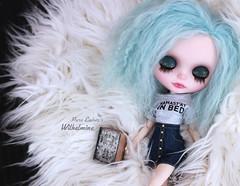 Lazy (pure_embers) Tags: pure embers blythe doll dolls custom olydolls oly pureemberswilhelmina wilhelmina neo uk laura england girl pretty pureembers photography takara portrait blue mohair fluffy lazy sleep eyelids cute book bed