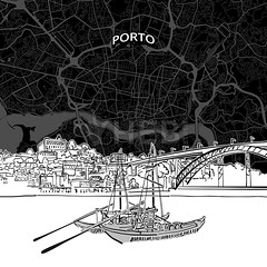 [Maps and Sketches] Porto skyline with map (Hebstreits) Tags: architecture areal background black boats building business city cityhall cityscape clérigostowercathedral design destination detailed drawing drawn hand harborbridge hostoricalpart illustration landmark line map nightlife ouro outline panorama pencil plan porto portugal poster ribeira road roof sights silhouette sketch skyline style top tourism travel urban vector white