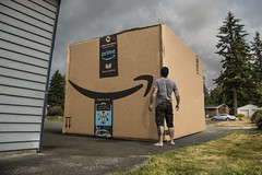 a Big Purchase (Drummy ™©) Tags: amazon photoshop selfie box package yard imagination creative present surprise