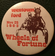 EDMONTON, WESTOWN FORD, WHEELS OF FORTUNE EVENT 1983--- PINBACK BUTTON (woody1778a) Tags: edmonton edmontonhistory alberta canada pinback button history mycollection myhobby
