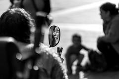 A smile in the rearview mirror (Black&Light Streetphotographie) Tags: monochrome mono menschen menschenbilder people personen portrait urban tiefenschärfe fullframe face vollformat gesicht nahaufnahme sony streetshots streets streetshooting schwarzweis streetportrait street sonya7rii dof depthoffield city closeup blackandwhite blackwhite bw bokeh bokehlicious