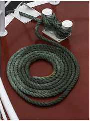 A line neatly advanced on deck (Luc V. de Zeeuw) Tags: bolder bollard deck rope tholen zeeland netherlands
