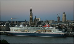 Cruise Ship MS Balmoral ...  Fred.Olsen Cruise Lines.   Arrived. (Aquarius15) Tags: belgium antwerp cruiseshipmsbalmoral fredolsencruiselines ships boats spring clouds sky skyline city architecture riverscheldt water waves reflections trees arrived