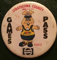 STRATHCONA COUNTY 1987---ALBERTA SUM,MER GAMES PASS---PINBACK BUTTON (woody1778a) Tags: edmonton history pinback button alberta canada albertahistory