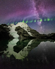 Berg Lake Aurora Portrait (robertdownie) Tags: auroraborealis berglake britishcolumbia canada steve astronomy beautyinnature coldtemperature galaxy idyllic lake milkyway mountain nature night picketfenceaurora reflection scenicsnature sky snowcappedmountain space starspace tranquilscene tranquility water waterfront mountains rock snow green pink ice glacier clear hiking aurora trekking south astrophotography rocky berg nightscape northernlights crisp picketfence northface canadianrockies mtrobson
