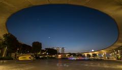 The moon and the star (jacysf) Tags: crescentmoon star marinabarrage dusk aftersunset throughherlens cityscape panorama underthecurvedbridge exploreflickr fountain longexposure