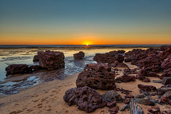 Sun worshippers of the inanimate kind (JustAddVignette) Tags: algae australia collaroy dawn early footprints glow landscapes longreef lowtide newsouthwales northernbeaches ocean reef rocks sand seascape seawater sky sunrise sydney water