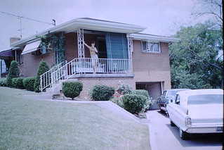Found Photo - Woman at Mid-Century Modern House & Cadillac