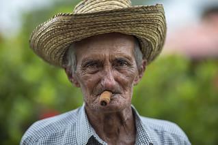 Sigar smoking man in Vinales, Cuba