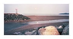Watermark Fundy (Baipin) Tags: bay fundy canada maritimes east coast can tidal bore wave low rock mud drain day night confusion sun moon ambiguous androgynous current man new topographic film linhof alaog large gross format tower beacon nikon nikkor