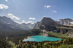 Grinnell Lake (leah.kling) Tags: colours eos air vacation natur sunlight colors world landschaft mountains sommer naturephotography water sky nature blue tree green light glacier national park landscape summer trees lake new canon wow explore rockies texture travel tokina day usa outdoors icon iconic digital dslr photography photo discover flickr camera valley mountain montana