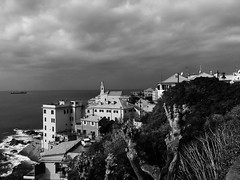 """In The Shadow Of The Storm"" (giannipaoloziliani) Tags: mare flickr panorama monocromatico monochrome italy italia iphonephotography iphone clouds storm sea capture landscape view biancoenero blackandwhite boccadasse genova genoa"