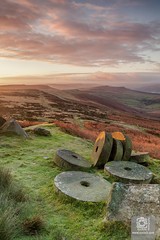 Mill Stones on Stanage Edge (Syxaxisphoto) Tags: england peakdistrictnationalpark sheffield stangeedge syxaxisphotography yorkshire cloudsky color colour dusk grass landscape mountain nature nopeople outdoor rock sky tranquility uk vertical wwwsyxaxiscom hathersage unitedkingdom gb