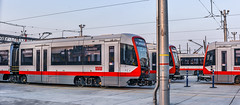 brand new muni trams (pbo31) Tags: bayarea california nikon d810 color august 2018 summer boury pbo31 urban city sanfrancisco panoramic large stitched panorama muni tram transit dogpatch yard new potrero service red