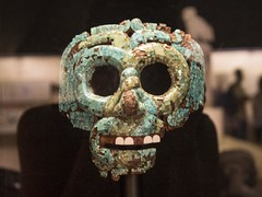 Turquoise mosaic mask, Mextec- Aztec, AD 1400-1521 (Emma Nibaru) Tags: nikon nikond7200 london britishmuseum archeology mask terracotta ancient turquoise cultures