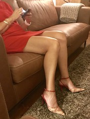 MyLeggyLady (MyLeggyLady) Tags: slingbacks upskirt sex hotwife milf sexy secretary teasing red minidress thighs cfm pumps stiletto legs heels