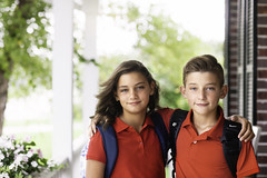 6th Grade (Rebecca812) Tags: firstdayofschool 6thgrade middleschool uniform portrait twins brother sister family porch morning backpacks red excited people canon rebeccanelson rebecca812