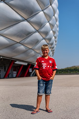 Youngest son at Allianz Arena (Dannis van der Heiden) Tags: allianzarena münchen football fcbayern germany deutschland outside son sky stadion portrait nikond750 nikkor50mmf18g d750