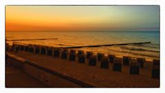 Sunset  Kühlungsborn (Heinze Detlef) Tags: sonnenuntergang kühlungsborn sunset strand sand strandkörbe abend himmel wasser ostsee meer promenade